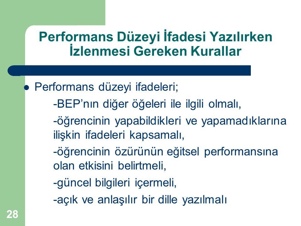 Performans Düzeyi İfadesi Yazılırken İzlenmesi Gereken Kurallar