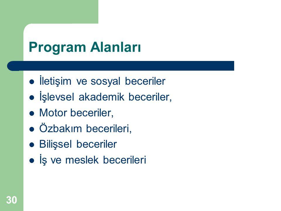 Program Alanları İletişim ve sosyal beceriler