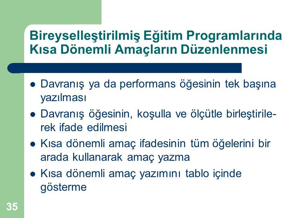 Bireyselleştirilmiş Eğitim Programlarında Kısa Dönemli Amaçların Düzenlenmesi