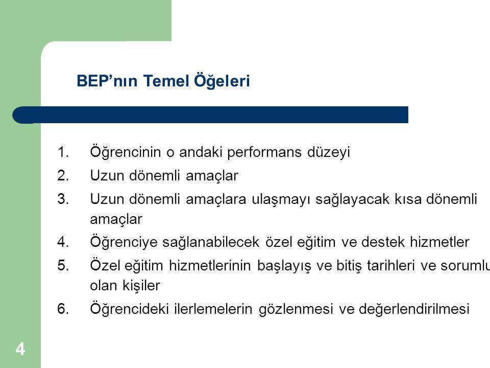 BEP'nın Temel Öğeleri Öğrencinin o andaki performans düzeyi