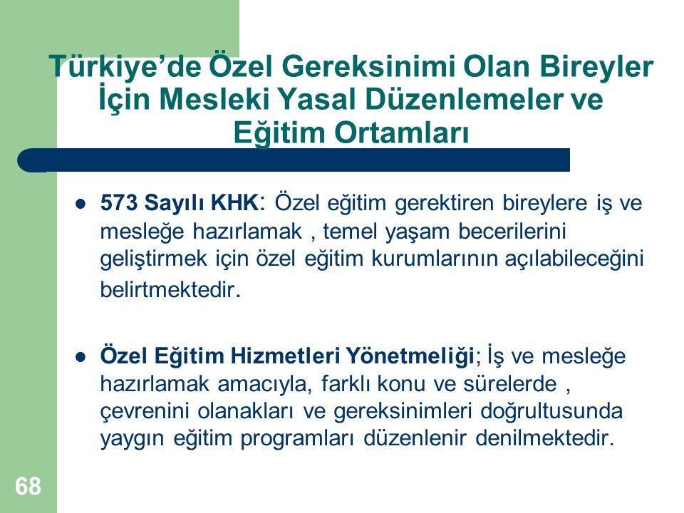 Türkiye'de Özel Gereksinimi Olan Bireyler İçin Mesleki Yasal Düzenlemeler ve Eğitim Ortamları