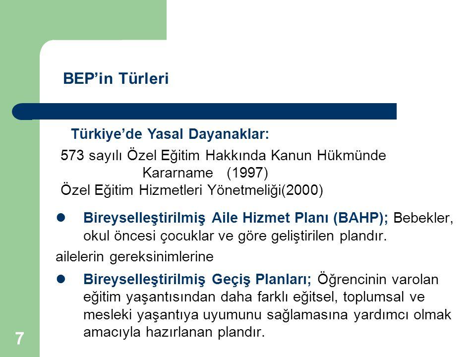 BEP'in Türleri Türkiye'de Yasal Dayanaklar: