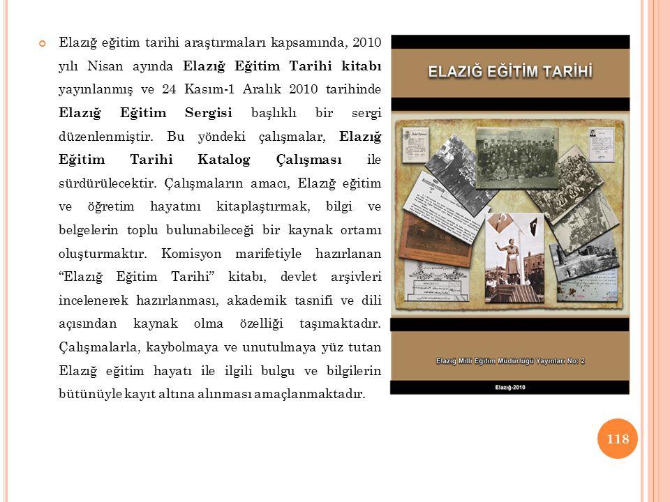 Elazığ eğitim tarihi araştırmaları kapsamında, 2010 yılı Nisan ayında Elazığ Eğitim Tarihi kitabı yayınlanmış ve 24 Kasım-1 Aralık 2010 tarihinde Elazığ Eğitim Sergisi başlıklı bir sergi düzenlenmiştir.