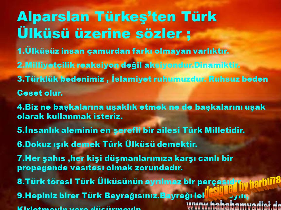 Alparslan Türkeş'ten Türk Ülküsü üzerine sözler ;