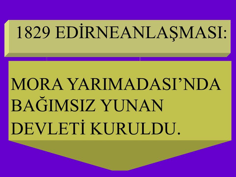1829 EDİRNEANLAŞMASI: MORA YARIMADASI'NDA BAĞIMSIZ YUNAN DEVLETİ KURULDU.