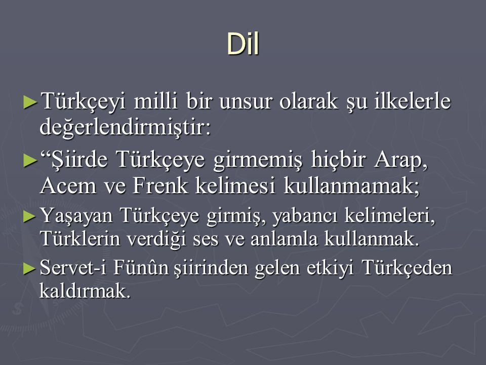 Dil Türkçeyi milli bir unsur olarak şu ilkelerle değerlendirmiştir: