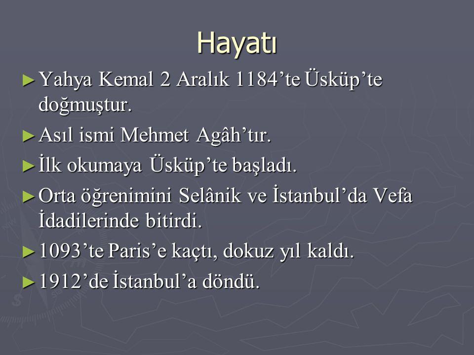 Hayatı Yahya Kemal 2 Aralık 1184'te Üsküp'te doğmuştur.