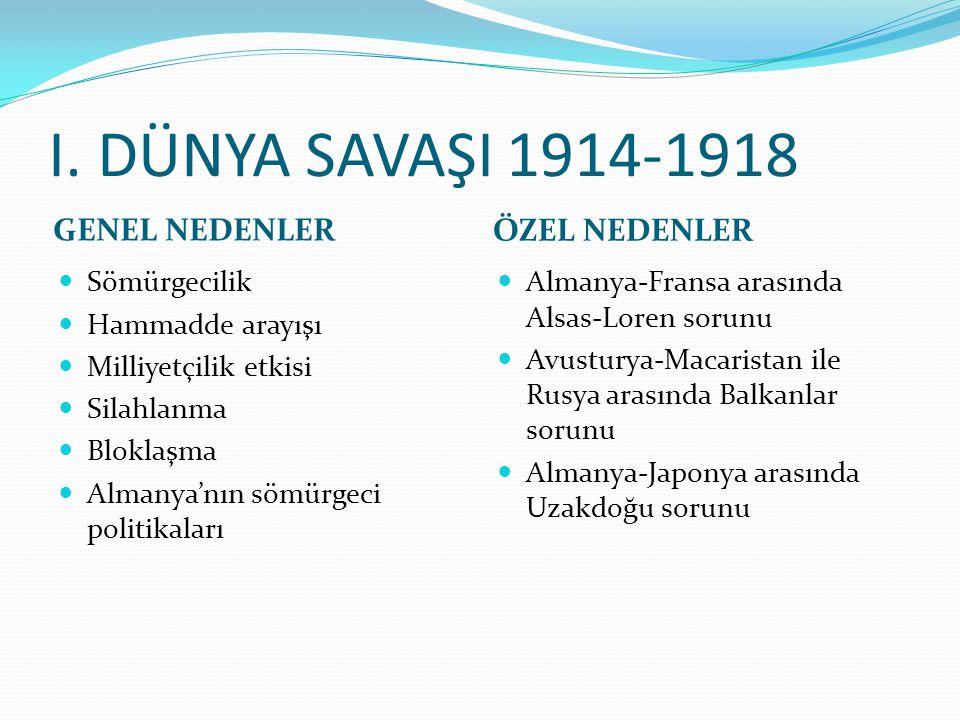 I. DÜNYA SAVAŞI 1914-1918 GENEL NEDENLER ÖZEL NEDENLER Sömürgecilik