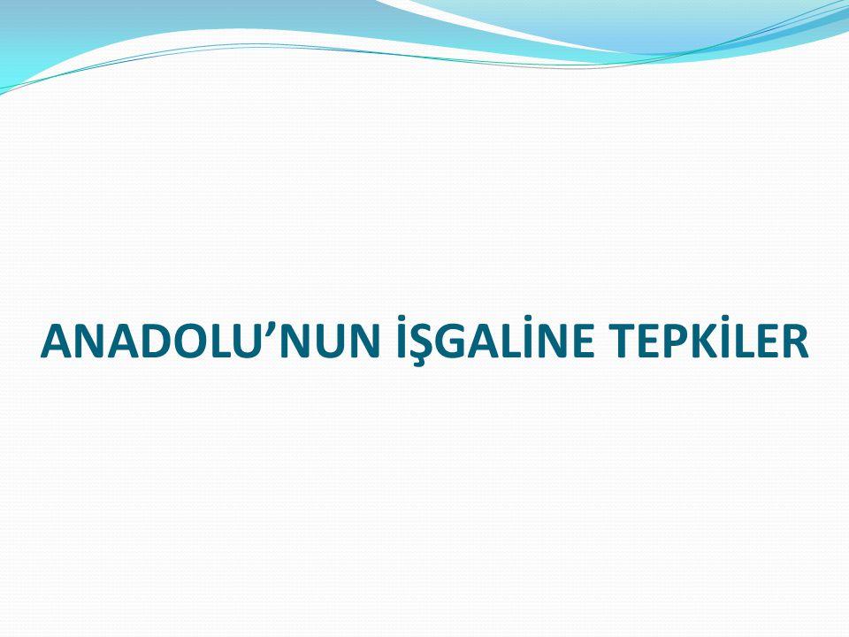 ANADOLU'NUN İŞGALİNE TEPKİLER
