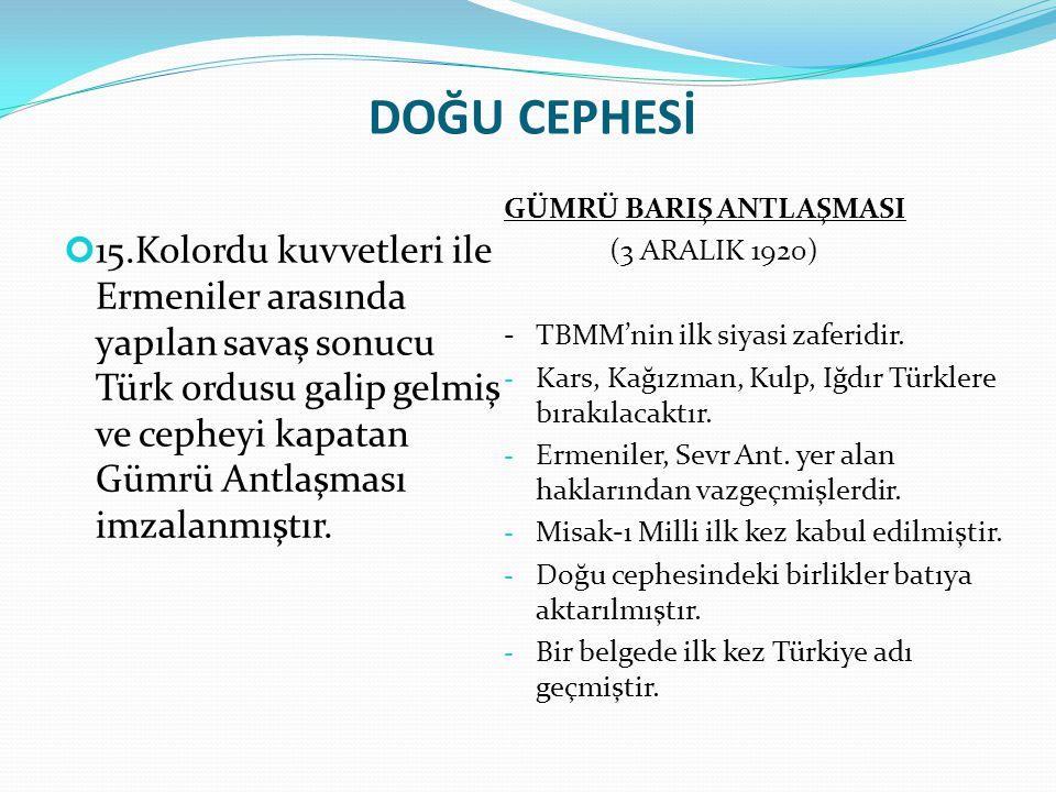 DOĞU CEPHESİ GÜMRÜ BARIŞ ANTLAŞMASI. (3 ARALIK 1920) - TBMM'nin ilk siyasi zaferidir. Kars, Kağızman, Kulp, Iğdır Türklere bırakılacaktır.
