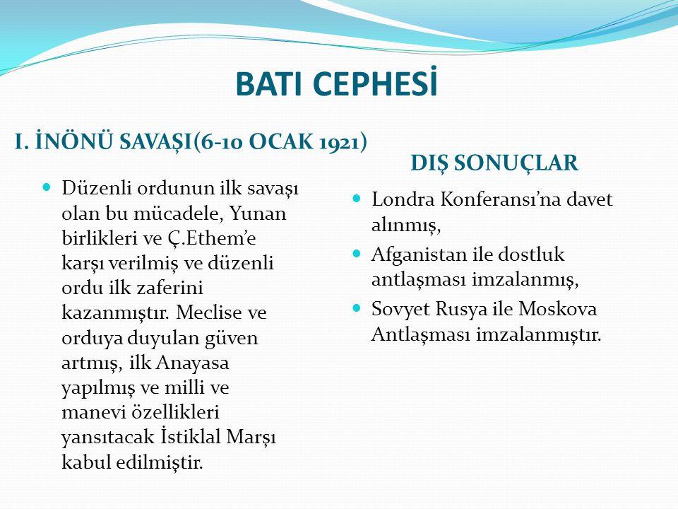 BATI CEPHESİ I. İNÖNÜ SAVAŞI(6-10 OCAK 1921) DIŞ SONUÇLAR