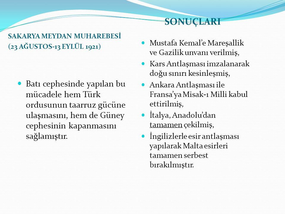 SONUÇLARI SAKARYA MEYDAN MUHAREBESİ. (23 AĞUSTOS-13 EYLÜL 1921) Mustafa Kemal'e Mareşallik ve Gazilik unvanı verilmiş,