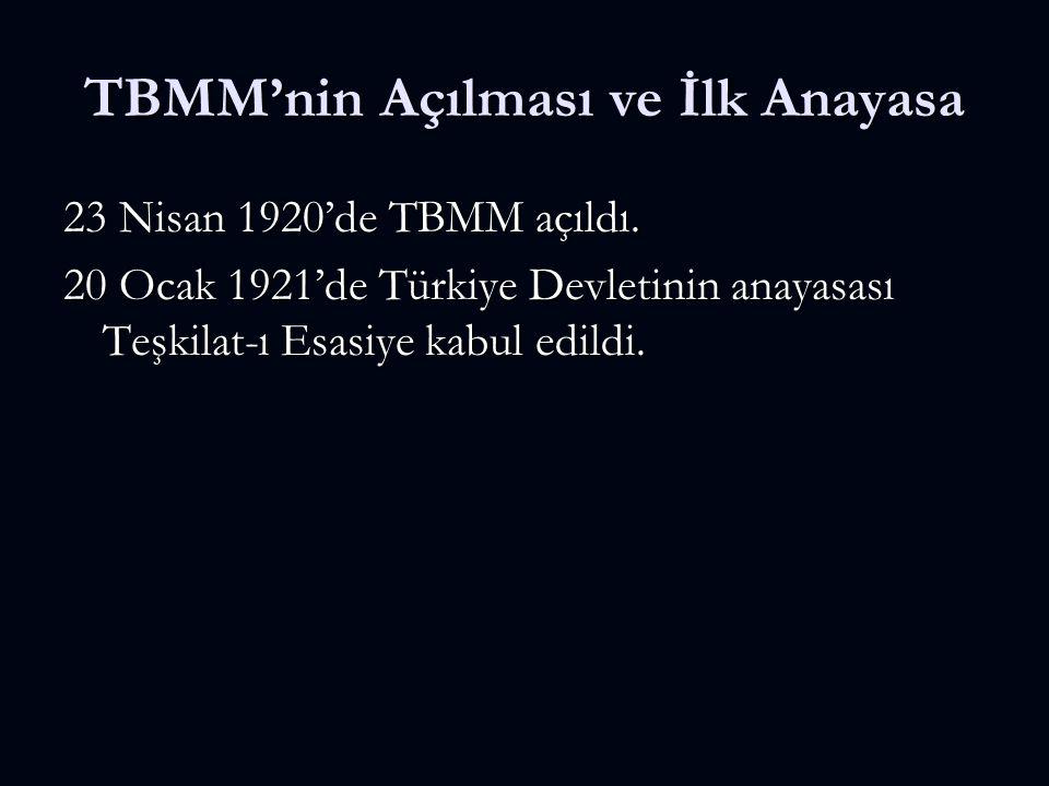 TBMM'nin Açılması ve İlk Anayasa