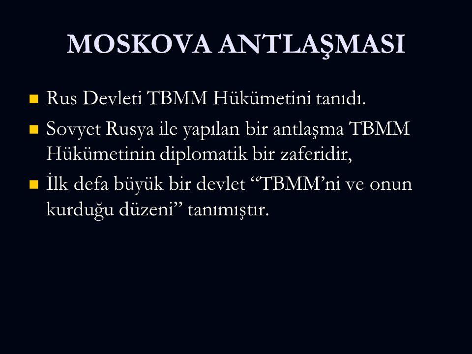 MOSKOVA ANTLAŞMASI Rus Devleti TBMM Hükümetini tanıdı.