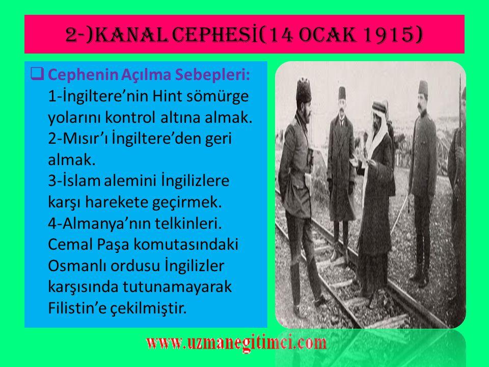 2-)KANAL CEPHESİ(14 Ocak 1915)