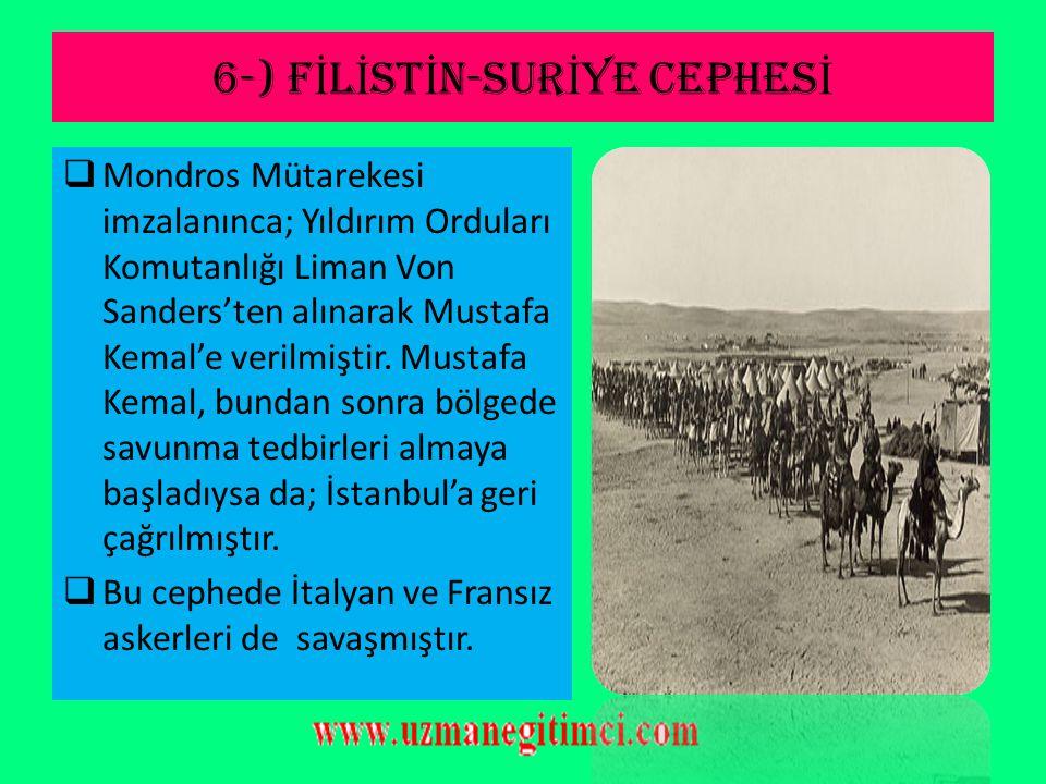 6-) FİLİSTİN-SURİYE CEPHESİ