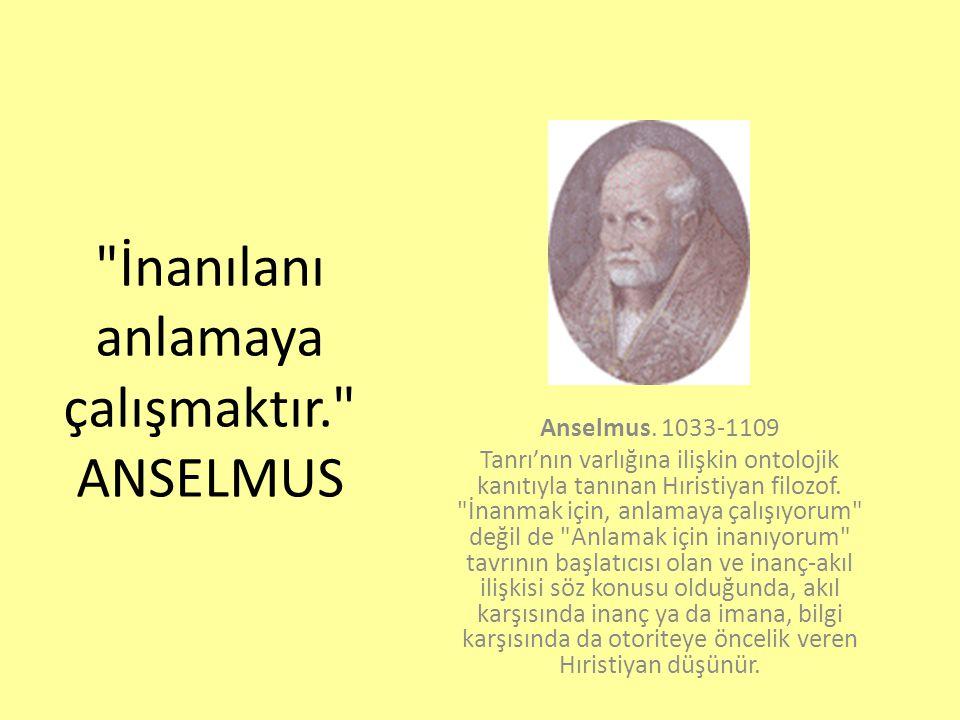 İnanılanı anlamaya çalışmaktır. ANSELMUS