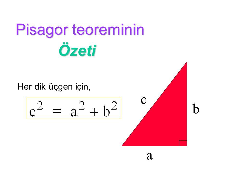 Pisagor teoreminin Özeti a b c Her dik üçgen için,