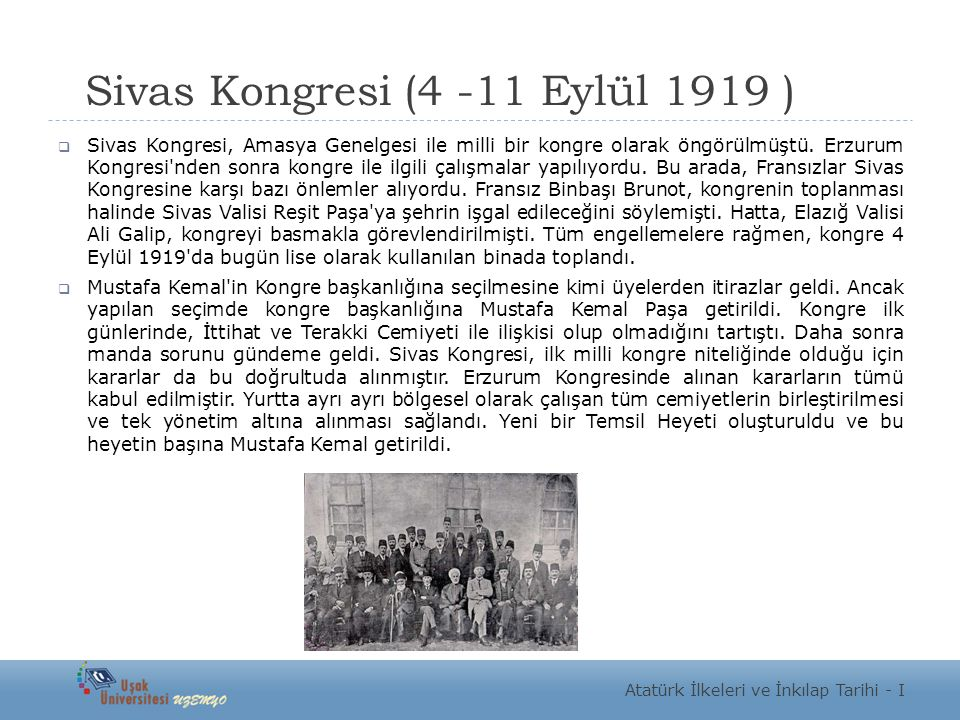 Sivas Kongresi (4 -11 Eylül 1919 )