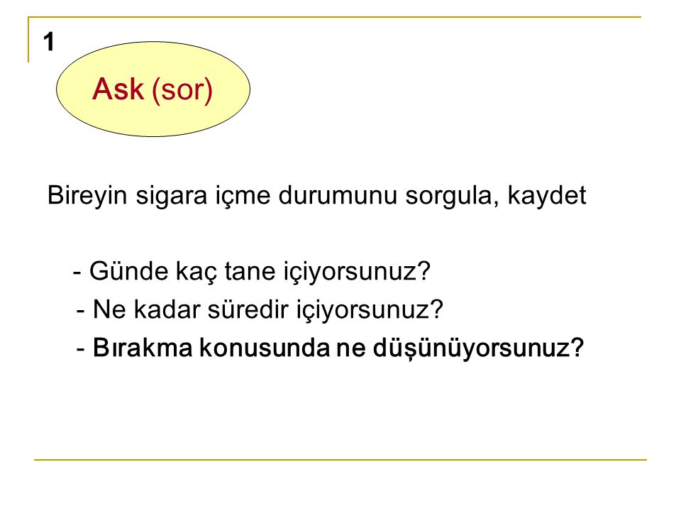 Ask (sor) 1 Bireyin sigara içme durumunu sorgula, kaydet