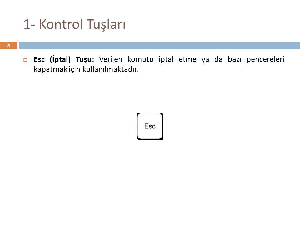 1- Kontrol Tuşları Esc (İptal) Tuşu: Verilen komutu iptal etme ya da bazı pencereleri kapatmak için kullanılmaktadır.