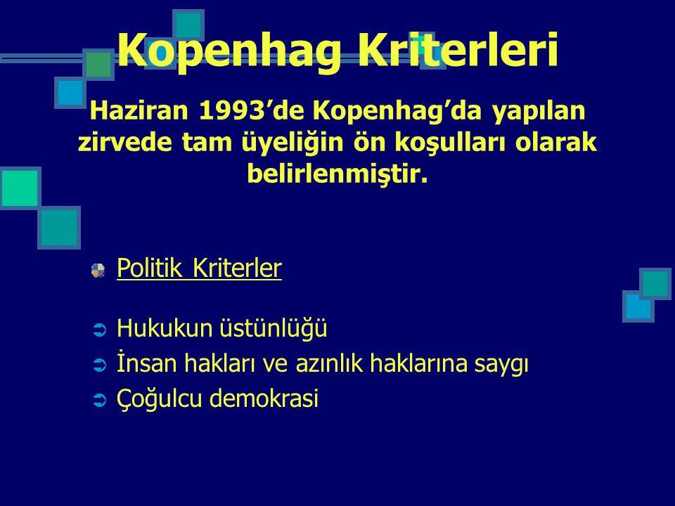Kopenhag Kriterleri Haziran 1993'de Kopenhag'da yapılan zirvede tam üyeliğin ön koşulları olarak belirlenmiştir.
