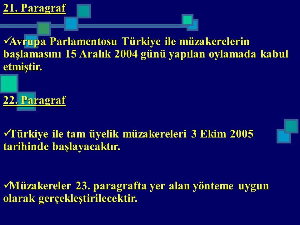 21. Paragraf Avrupa Parlamentosu Türkiye ile müzakerelerin başlamasını 15 Aralık 2004 günü yapılan oylamada kabul etmiştir.