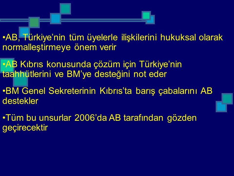 AB, Türkiye'nin tüm üyelerle ilişkilerini hukuksal olarak normalleştirmeye önem verir