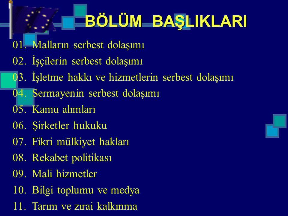 BÖLÜM BAŞLIKLARI 01. Malların serbest dolaşımı