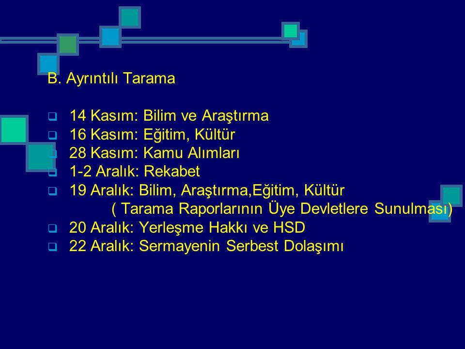 B. Ayrıntılı Tarama 14 Kasım: Bilim ve Araştırma. 16 Kasım: Eğitim, Kültür. 28 Kasım: Kamu Alımları.