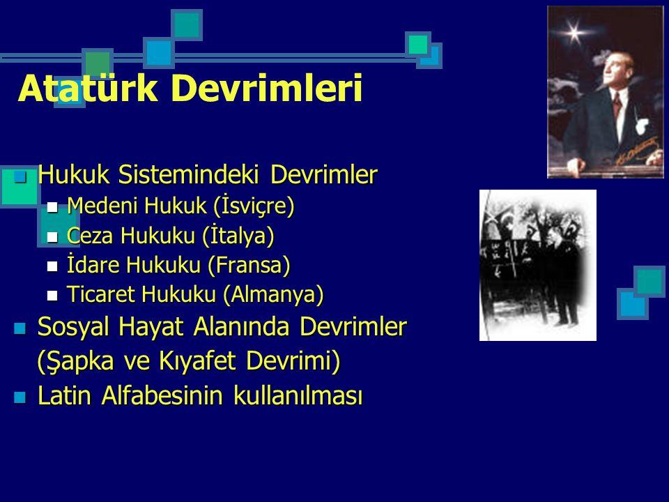 Atatürk Devrimleri Hukuk Sistemindeki Devrimler