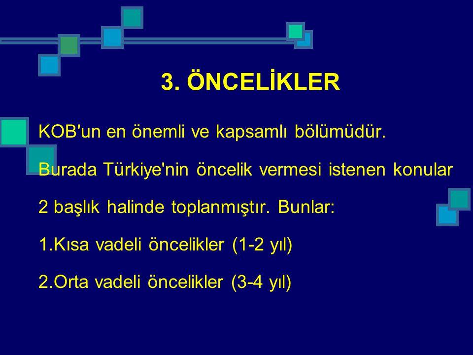 3. ÖNCELİKLER KOB un en önemli ve kapsamlı bölümüdür.