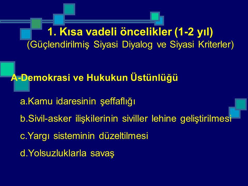1. Kısa vadeli öncelikler (1-2 yıl) (Güçlendirilmiş Siyasi Diyalog ve Siyasi Kriterler)