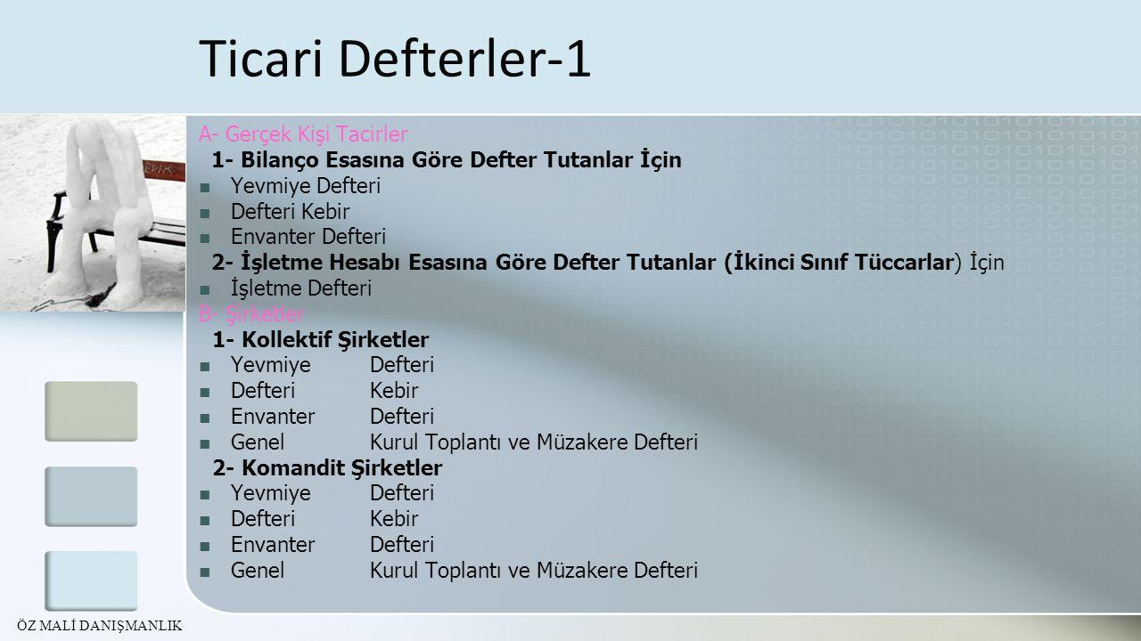 Ticari Defterler-1 A- Gerçek Kişi Tacirler