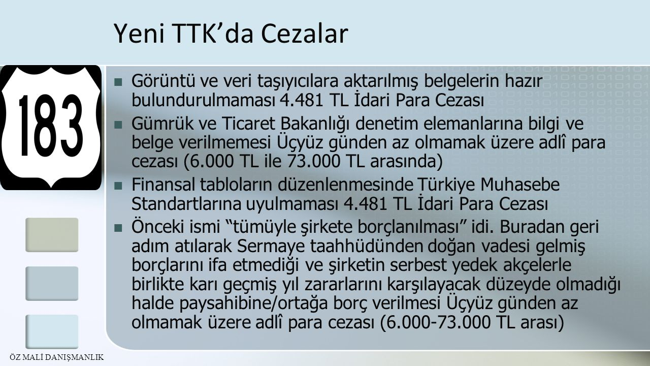 Yeni TTK'da Cezalar Görüntü ve veri taşıyıcılara aktarılmış belgelerin hazır bulundurulmaması 4.481 TL İdari Para Cezası.