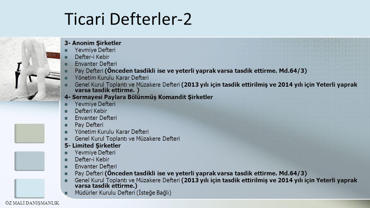 Ticari Defterler-2 3- Anonim Şirketler Yevmiye Defteri Defter-i Kebir
