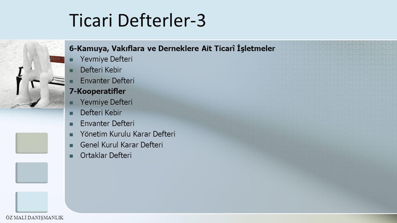 Ticari Defterler-3 6-Kamuya, Vakıflara ve Derneklere Ait Ticarî İşletmeler. Yevmiye Defteri. Defteri Kebir.