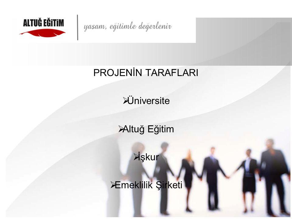 PROJENİN TARAFLARI Üniversite Altuğ Eğitim İşkur Emeklilik Şirketi