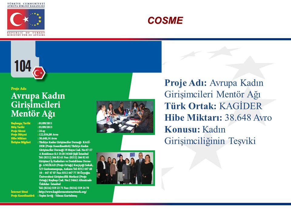 Proje Adı: Avrupa Kadın Girişimcileri Mentör Ağı Türk Ortak: KAGİDER