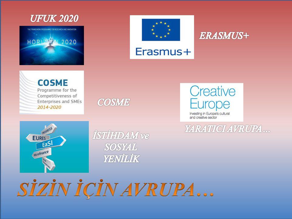 SİZİN İÇİN AVRUPA… UFUK 2020 ERASMUS+ COSME YARATICI AVRUPA…