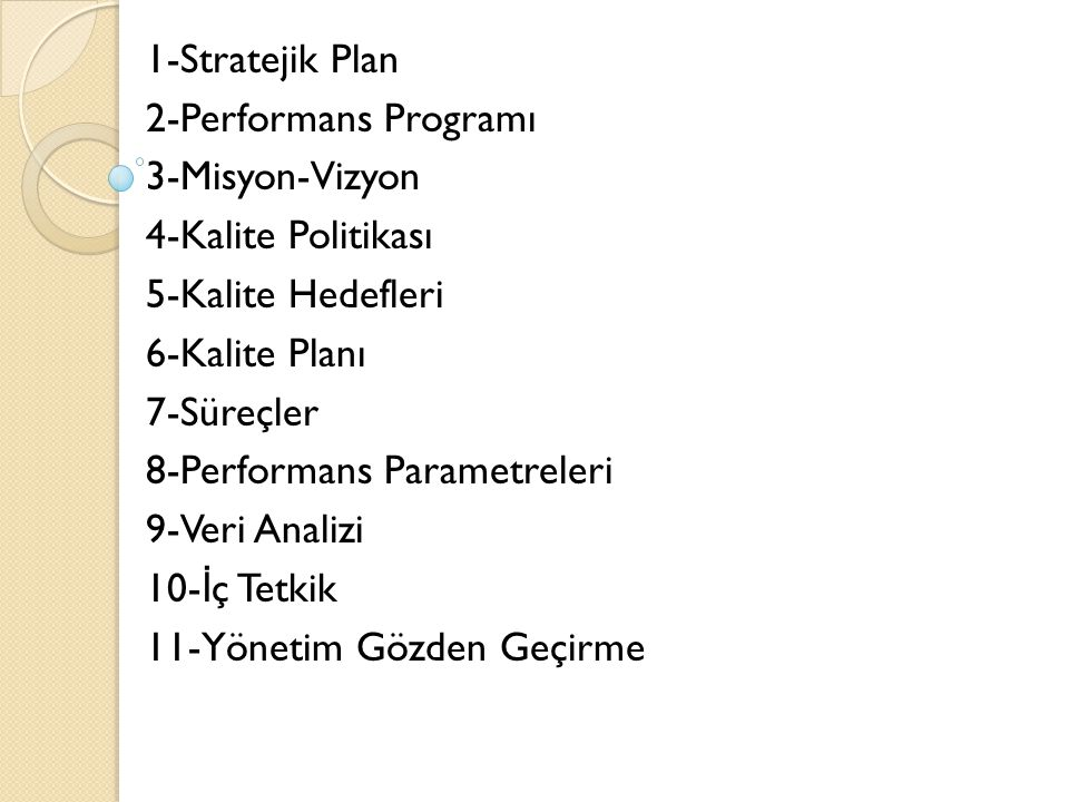 1-Stratejik Plan 2-Performans Programı. 3-Misyon-Vizyon. 4-Kalite Politikası. 5-Kalite Hedefleri.