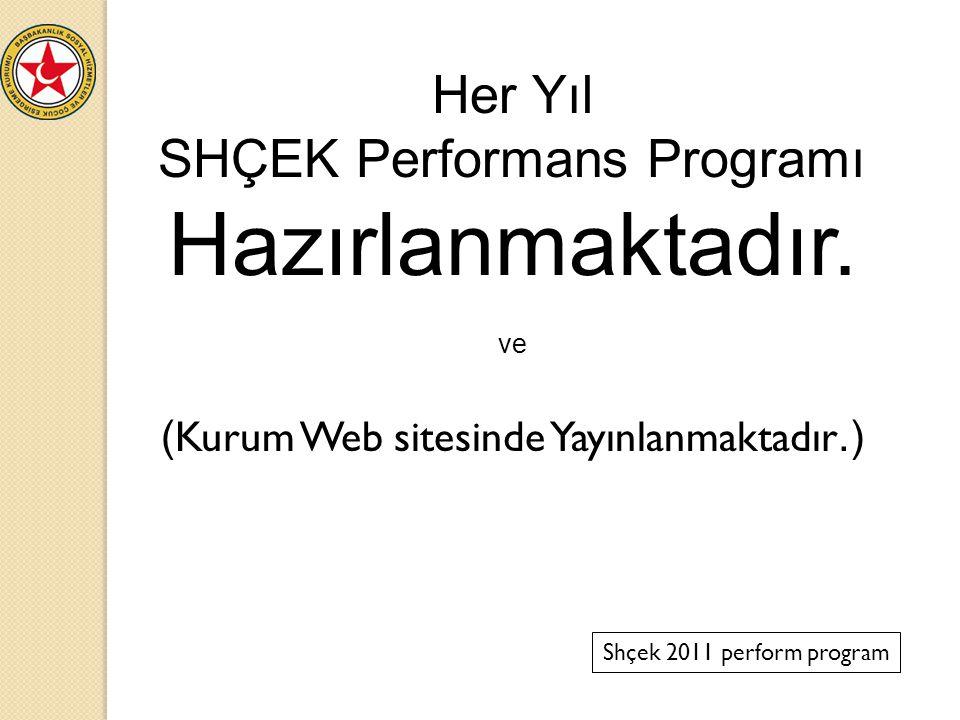 SHÇEK Performans Programı Hazırlanmaktadır.