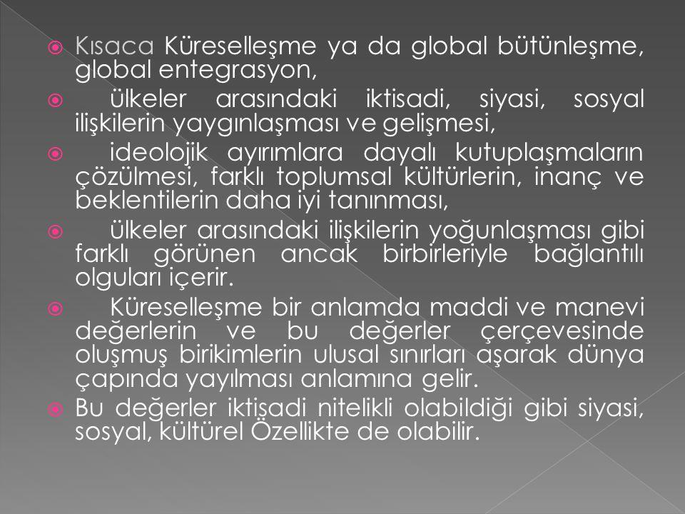 Kısaca Küreselleşme ya da global bütünleşme, global entegrasyon,