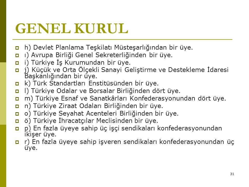 GENEL KURUL h) Devlet Planlama Teşkilatı Müsteşarlığından bir üye.