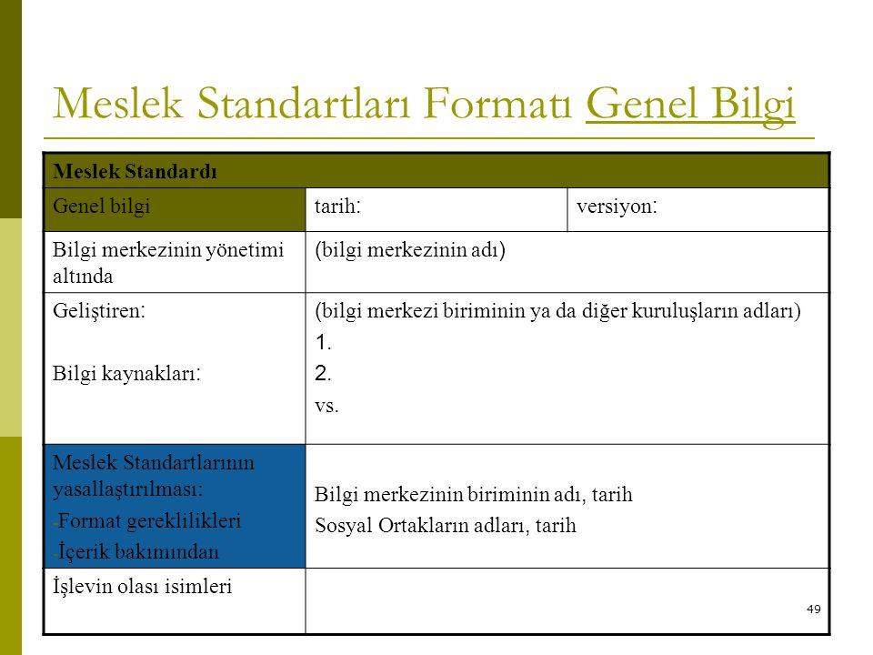 Meslek Standartları Formatı Genel Bilgi