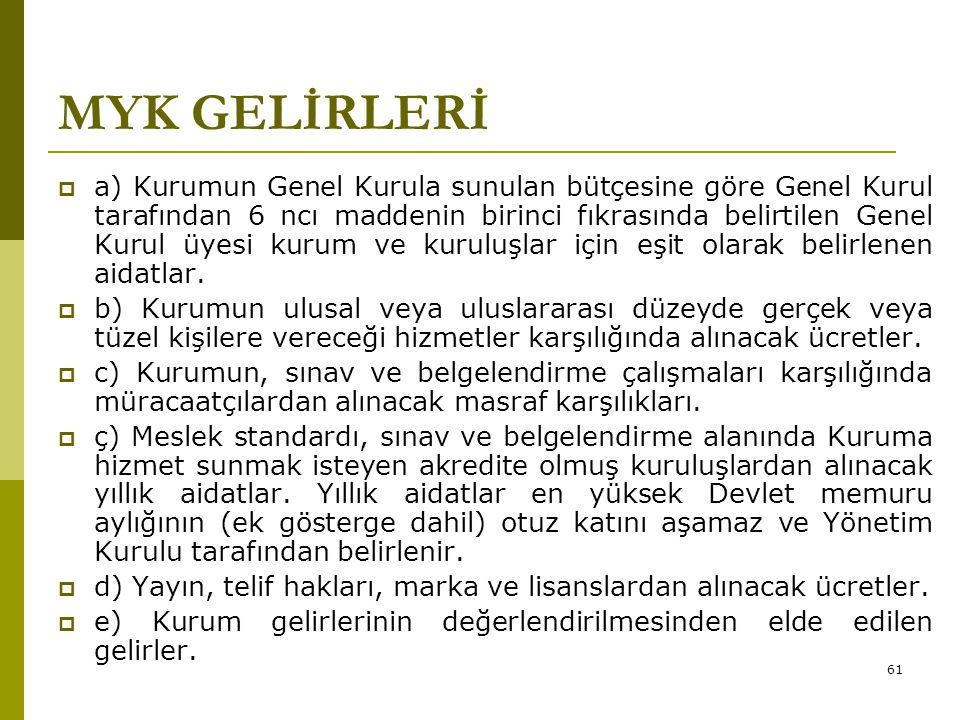 MYK GELİRLERİ