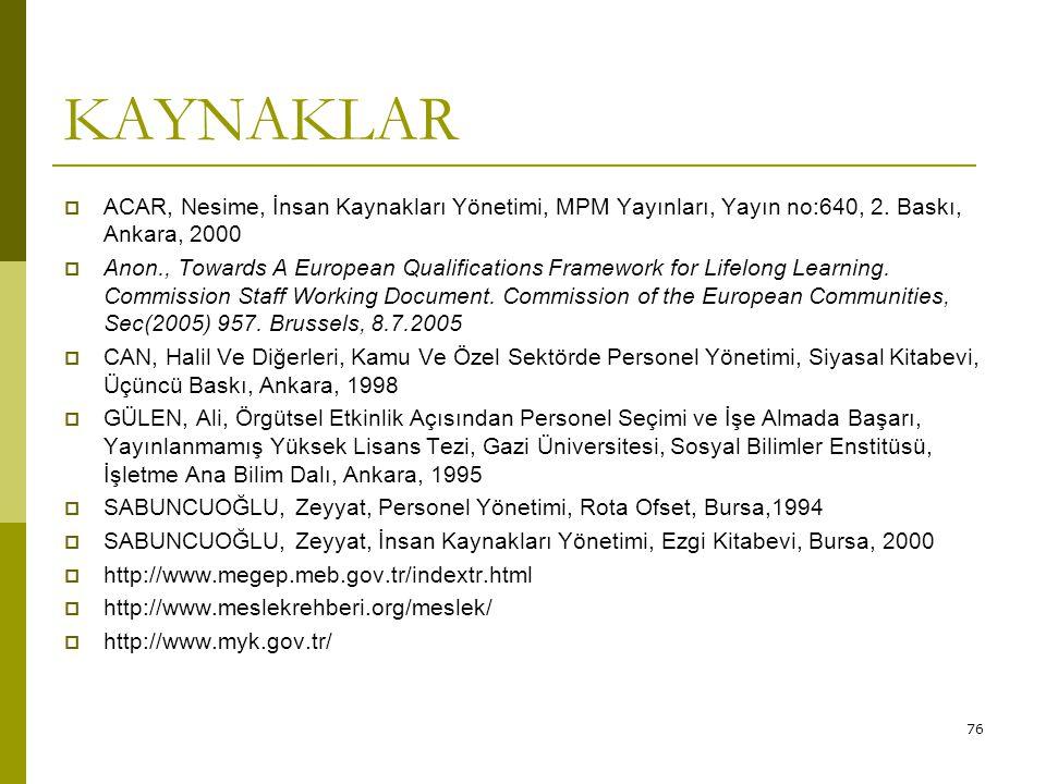 KAYNAKLAR ACAR, Nesime, İnsan Kaynakları Yönetimi, MPM Yayınları, Yayın no:640, 2. Baskı, Ankara, 2000.