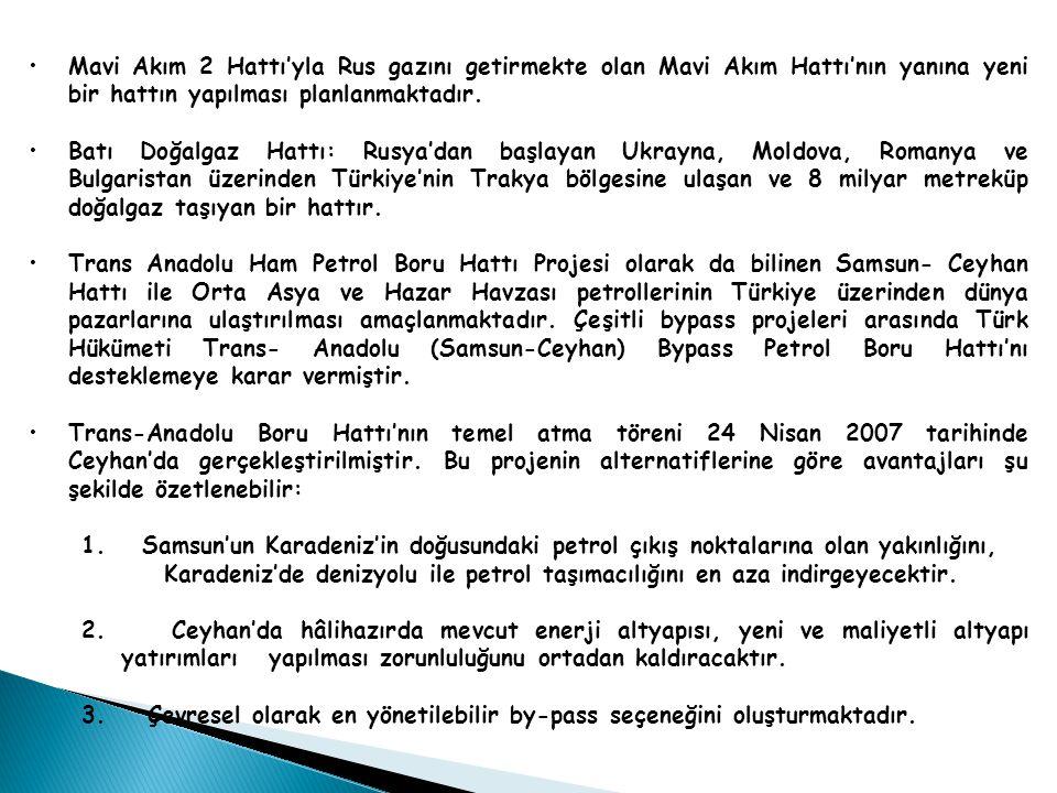 Mavi Akım 2 Hattı'yla Rus gazını getirmekte olan Mavi Akım Hattı'nın yanına yeni bir hattın yapılması planlanmaktadır.