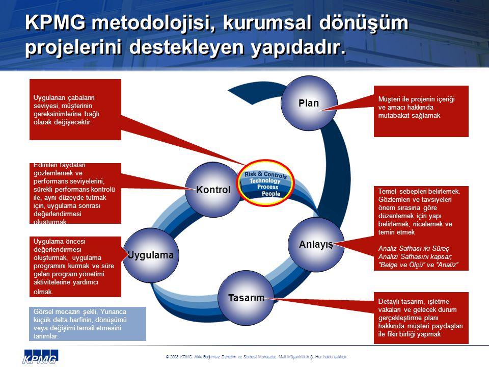 KPMG metodolojisi, kurumsal dönüşüm projelerini destekleyen yapıdadır.