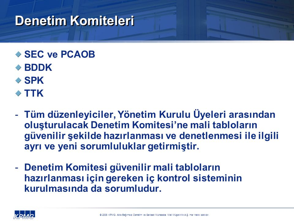 Denetim Komiteleri SEC ve PCAOB BDDK SPK TTK